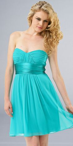 Turquoise Chiffon Sweetheart Neckline Ruffle Band Tea Length Cocktail Dress