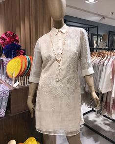 Love this Barong Dress from SM! Barong Tagalog For Women, Filipiniana Dress, Manila, Filipino, Wedding Ideas, Goals, Formal Dresses, Modern, Outfits