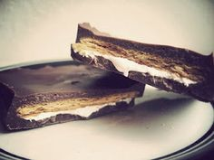 S'mores candy bars.  Made with marshmallow fluff so these are okay for vegetarians