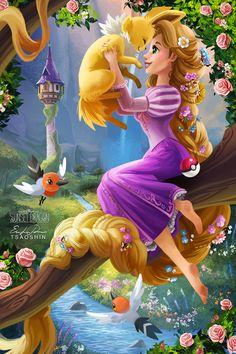 Disney and Pokemon Disney Rapunzel, Rapunzel Flynn, Disney Princess Pictures, Disney Princess Art, Disney Pictures, Crossovers De Disney, Disney Movies, All Disney Characters, Disney E Dreamworks