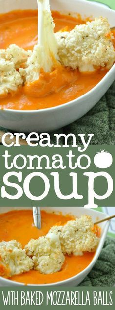 Creamy Tomato Soup with Baked Mozzarella Balls :: a family favorite -- you're gonna want to double this one!