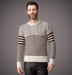 <p>Contrasting striped patterns are knitted in softest wool, with clever placement emphasising the masculine form. The confident man completes the look with the matching Findon Scarf for a bold yet casual statement. </p><br/> <p>• Round neckline</p> <p>• Full length sleeves</p> <p>• Fitted through the body</p>