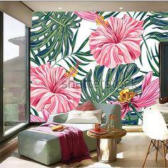 Custom 3D gran mural, flores tropicales, hojas de palma, hibisco papel de parede, salón TV wallpaper dormitorio pared