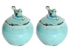 S/2 Round Decorative Bird Jars on One Kings Lane today
