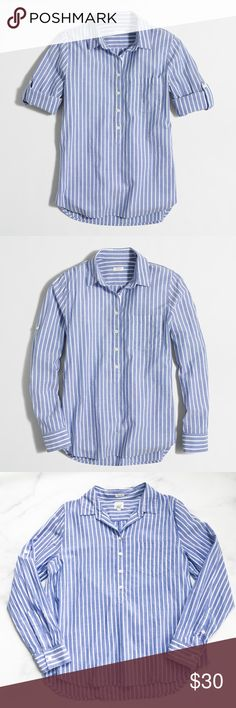 J. Crew Stripe Pocket Popover Shirt Classic striped popover shirt from J. Crew Factory. Lightweight 100% cotton, perfect for spring and summer! Long sleeves can be rolled and fastened to convert to a short sleeve button up. Size large. Excellent condition! J. Crew Tops Button Down Shirts