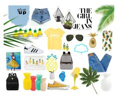 """""""Pineapple summer"""" by rodaisabella on Polyvore featuring Levi's, Sunnylife, Holly's House, Fringe, MANGO, Converse, adidas, Oliver Goldsmith, A Little Lovely Company e LumiSource"""