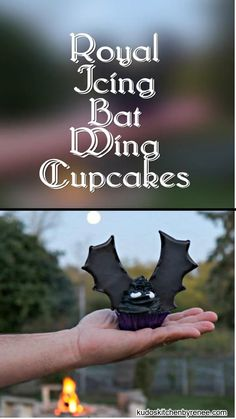Take a bite out of these royal icing Bat Wing Cupcakes, before they take a bite out of you! You'll be glad you did because they're BATtastically delicious, and not at all threatening to make. Let me show you how. #halloweencupcakes #bats #funwithfood #foodart #halloweendessert #halloweenfood #halloweenbaking #batwingcupcakes #buttercreamicing #cupcakes #royalicing #decoratedcupcakes #halloweensweets #kudoskitchenrecipes