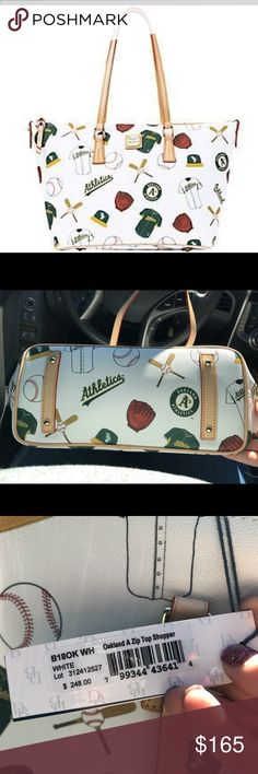 Dooney & Bourke MLB Shopper tote NWT  Retail $248  Oakland A's bag, perfect for games or to carry all year long! It can fit a MacBook 15 inch and comes with lots of storage and the zipper closure is perfect!  Comes with authentic Dooney card  No flaws! Dooney & Bourke Bags Totes