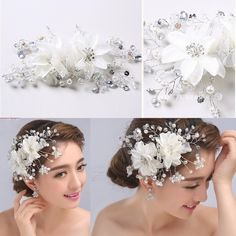 2015 White Pearl Crystal Bridal Hair Accessories Hand Made Flower Sparkly Beads Wedding Headdress In Stock Cheap Prom Party Headpiece #dhgatePin