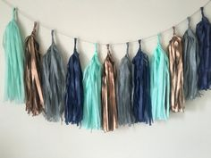 Mint navy copper and grey tassel garland wedding by Bagsoffavours
