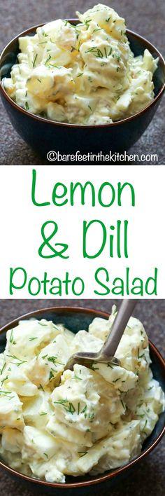 Lemony Dill Potato Salad is a refreshing twist on the classic potato salad! get the recipe at barefeetinthekitchen.com