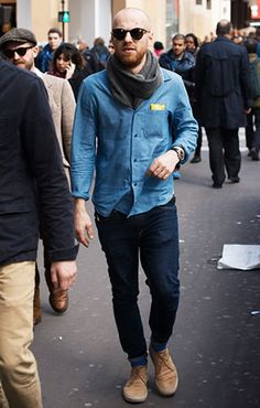 See the latest men's street style photography at FashionBeans. Browse through our street style gallery today - updated weekly. Bohemian Style Men, Mens Fashion Blog, Men's Fashion, Mens Lace Up Boots, Street Style Blog, Fashion Articles, Men Style Tips, Fashion Gallery, Fashion Lookbook