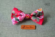 Vintage Floral Cotton Skinny Slim Bowtie(s) Red