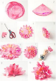 Faça você mesmo flores lindas com filtros de café.