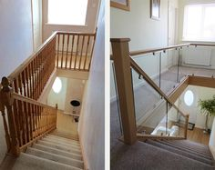 Before and after glass and wood staircase renovations Medlock Staircases Staircase Banister Ideas, Metal Stair Railing, Interior Stair Railing, Wood Balusters, House Staircase, Staircase Remodel, Staircase Makeover, Banisters, Bannister Ideas
