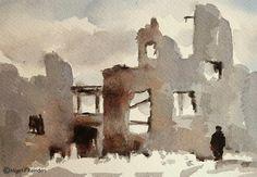 """Devastated city"" original fine art by Mineke Reinders"
