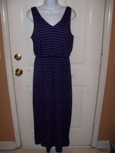 Faded Glory Navy Blue /Purple Striped Maxi Dress Women's NEW #FadedGlory #Maxi #Casual