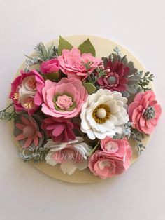 felt handmade flowers in pinks, cranberry and white with accents of grey and soft green dusty miller faux leaves. Felt Flower Bouquet, Felt Flower Wreaths, Felt Wreath, Faux Flowers, Diy Flowers, Fabric Flowers, Paper Flowers, Felt Crafts Diy, Felt Diy