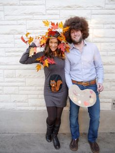 DIY Halloween Costumes for Couples - Bob Ross and Happy Little Tree - Funny, Creative and Scary Ideas for Parties, College Party - Unique and Cute Project Idea for Disney Characters, Superhero, Movie Themes, Bonnie and Clyde, Homemade Costume Projects for Boyfriends - Quick Last Minutes Halloween Costume Ideas from Pinterest http://diyjoy.com/best-halloween-costumes-couples