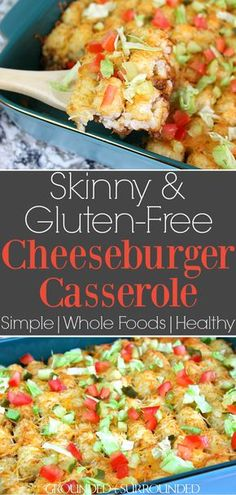 The BEST Skinny Cheeseburger Casserole | This clean eating homemade recipe makes the perfect family dinner. Healthy, gluten free, and tater tots-well hello delicious! You can make this in one pot like Hamburger Helper or use a 9x13 pan. All the flavors of a Cheese burger without the bun (low carb). Use any ground meat of choice, turkey, beef, venison, or buffalo. Add a little bacon fat for flavor and serve with pickles, lettuce, and tomatoes. #recipes #families #food