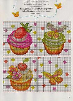 BeyazBegonvil I Kendin Yap I Alışveriş IHobi I Dekorasyon I Makyaj I Moda blogu: Kanaviçe / Cupcake Desenli Şablonlar