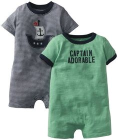 Amazon.com: Carter's Baby Boys' 2 Pack Rompers (Baby): Clothing