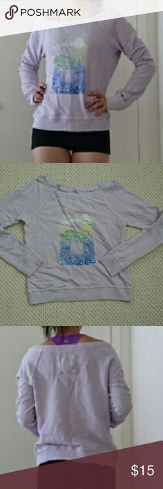 A&F lavender off the shoulder sweater A&F figure eight design with sequins. Off the shoulder sweater to a lovely lavender color. Comfy cozy and perfect for lounge around or doing weekend errands. Abercrombie & Fitch Tops Tees - Long Sleeve