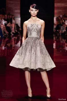 elie saab fall 2013 2014 couture strapless short dress silver