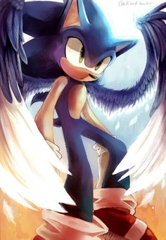 Sonic Angel art by Chillisart Sonic 3, Sonic And Amy, Sonic Fan Art, Sonic Mania, Sonic The Hedgehog, Shadow The Hedgehog, Godzilla, Sonic Underground, Shadow And Amy