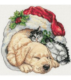 Gold Collection Petite Christmas Morning Pets Counted Cross Stitch Kit, , hi-res