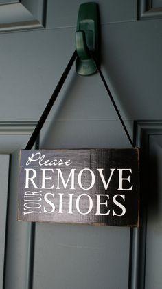Please Remove Your Shoes door hanger  wood sign  by creativecatt, $10.00