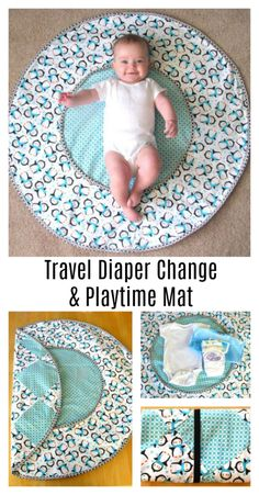 This DIY Travel Diaper Changing Pad & Playtime Mat saves room whether your traveling a long distance or just going somewhere local! Make one for yourself or give it as a gift! Diy Sewing Projects, Sewing Projects For Beginners, Sewing Tutorials, Sewing Tips, Sewing Hacks, Sewing Basics, Sewing Ideas, Crochet Projects, Quilt Baby