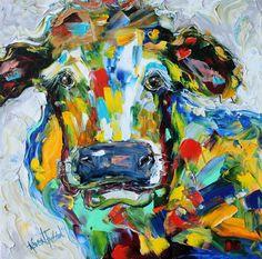 Original oil painting Lovely Cow palette knife by Karensfineart