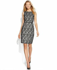 Calvin Klein Belted Contrast Lace Sheath - Dresses - Women - Macy's