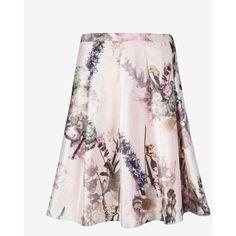 Ted Baker Torchlit Floral Print Full Skirt ($259) ❤ liked on Polyvore