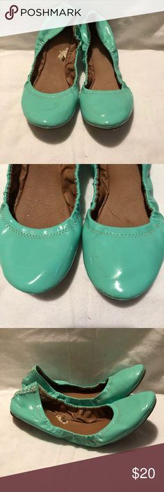 Lucky Brand mint green flats size 8 Lucky Brand nude flats   - [ ] Many close-up images provided so you can see all the details  - [ ] Overall Condition: VERY GOOD - [ ] Material: mint green patent leather - [ ]  - [ ] Hardware: - [ ] Size: 8 - [ ] Sole length: 10.25 inches  have a look around my closet for more designer shoes, purses and accessories! i will consider all reasonable offers :) Lucky Brand Shoes Flats & Loafers