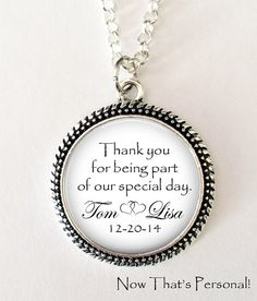 "Wedding party gift - ""Thank you for being part of our special day"" personalized necklace or key chain by NowThatsPersonal"