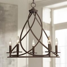 In rich bronze finish, this swirling metal five-light chandelier is ideal for industrial inspired living spaces. Style # at Lamps Plus. Chandelier Design, Foyer Chandelier, Chandelier Lighting, Vintage Chandelier, Dinning Room Light Fixture, Dining Room Lighting, Farmhouse Light Fixtures, Farmhouse Lighting, Room Lights