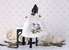 4 inches Miniature crocheted  dress with embroidery for Kelly doll. Doll clothing, crochet doll white dress. Dolls outfit. by Creativhook on Etsy