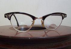 Vintage cat eye glasses ARTCRAFT etched by CrookedJoesAntiques $59