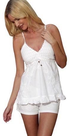 94b8adda76 Lirome White Organic Cotton Embroidery Spaghetti Straps-tobi-charming  Ruffle Blouse Size 12 (