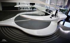 View the full picture gallery of Dental Clinic - Reception Futuristic Home, Futuristic Furniture, Futuristic Design, Reception Desk Design, Reception Counter, Office Reception, Grey Interior Design, Interior Concept, Ceo Office