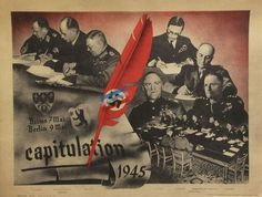 French WW2 Poster CAPITULATION Reims Berlin 7/9 May 1945