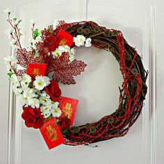 February festival: Autumn Harvest Wreath - Celebrate Chinese Moon Festival and Chinese New Year Chinese New Year Flower, Chinese New Year 2016, Chinese New Year Decorations, New Years Decorations, New Year's Crafts, Diy And Crafts, Deco Nouvel An, Chinese Moon Festival, Asian New Year