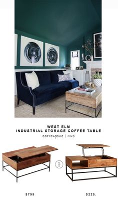 Box Frame Storage Coffee Table Small Space Living Pinterest - West elm box frame storage coffee table