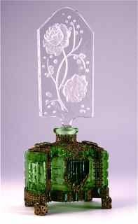 1920s Irice Jeweled Czech Perfume Bottle