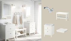 Armário para lavatório HEMNES/RÄTTVIKEN em branco com duas gavetas e armário espelhado HEMNES