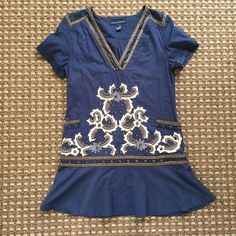 """French connection tunic/dress Navy with detailed embroidery. EUC. Could wear as a tunic or a dress. Size 8. Length 34"""". French Connection Dresses"""