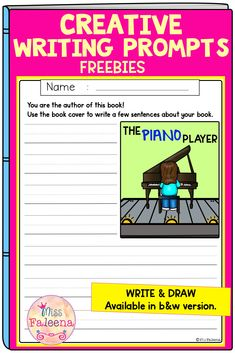 Free Creative Writing Prompts contains 10 pages of writing prompts worksheets and 10 pages drawing a book cover. This resource is suitable for kindergarten through second grade students. Students have to use the book cover to tell a story about the book and draw a book cover using the title. Kindergarten | Kindergarten | First Grade | Second Grade | Free Creative Writing Picture Prompts | Writing Prompts | writing center | Write and Draw | Creative Writing Prompts Book Cover | Free Lessons Writing Prompts Book, Creative Writing Prompts, First Grade, Second Grade, Creative Writing Pictures, Piano Player, The Book, Worksheets, Kindergarten