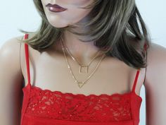 Gold Filled Layering Necklace, Multi Strand Necklace,Geometric Gold Necklace, Shape Necklace, Simple Necklace, Two-Layered Necklace, NTOP62